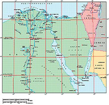 Frontiers Windows EPS map of  Egypt, Suez Canal, Nile Delta, Sinai