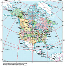 Frontiers Mac EPS map of Northern America continent