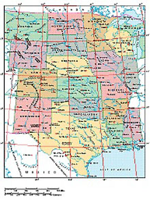 Frontiers Windows EPS map of  USA Central