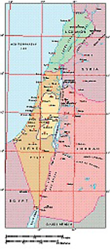 Frontiers Windows EPS map of  Israel, Lebanon, W.Bank, Gaza Strip