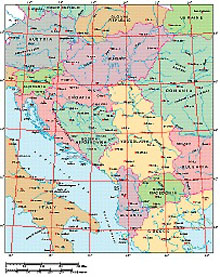 Frontiers Mac EPS map of Yugoslavia, Hungary, Albania