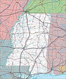 USA State EPS Maps - Mississippi
