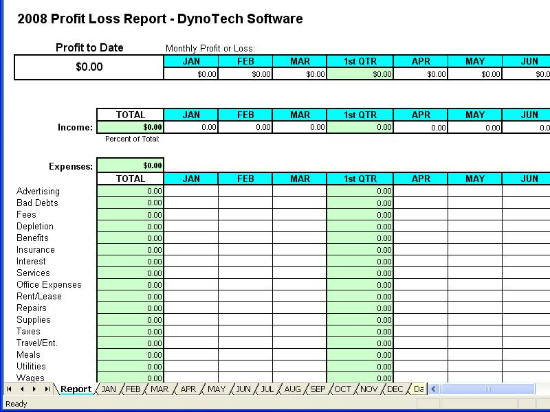 DynoTech Software Online Store - Profit Loss Report Spreadsheet