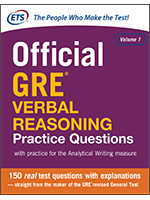 Official GRE® Verbal Reasoning Practice Questions, Volume 1
