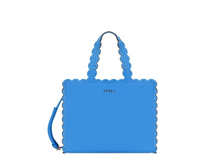 Merletto Small Tote Bag in Celeste Blue Calfskin Furla lN43KK