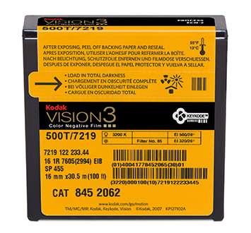 KODAK VISION3 500T Color Negative Film 7219 / 16 mm x 100 ft / Camera Spool / Winding B / 1R-2994, Catalog # 8452062