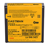 EASTMAN DOUBLE-X Black & White Negative Film 7222 / 16 mm x 100 ft / Camera Spool / Winding B / 1R-2994, Catalog # 8469421