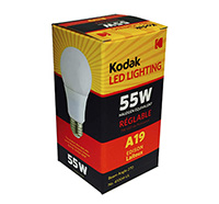 KODAK 55W Equivalent Soft White A19 Dimmable LED Lightbulb
