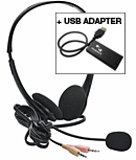High-performance stereo headset microphone optimized for voice input of Dragon software (USB compatible with attached adapter).