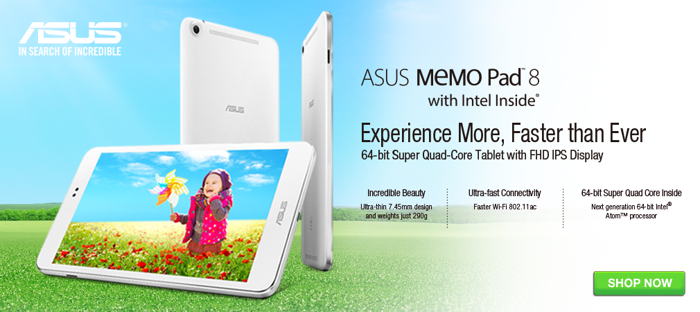 The stylish ASUS MeMO Pad 8, powerful tablet at an affordable price.