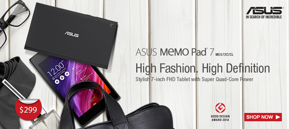 Stylish 7-inch FHD Tablet with Super Quad-Core Power MeMO Pad 7 ME572