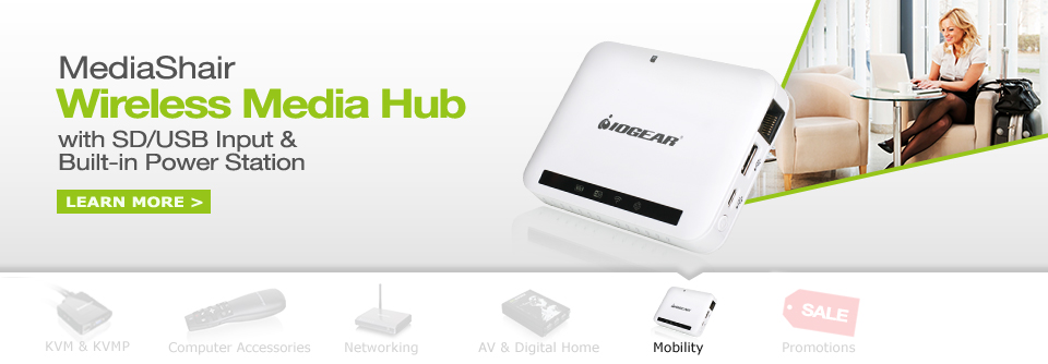 MediaShair Wireless Media Hub w/SD/USB Input & Built-in Power Station
