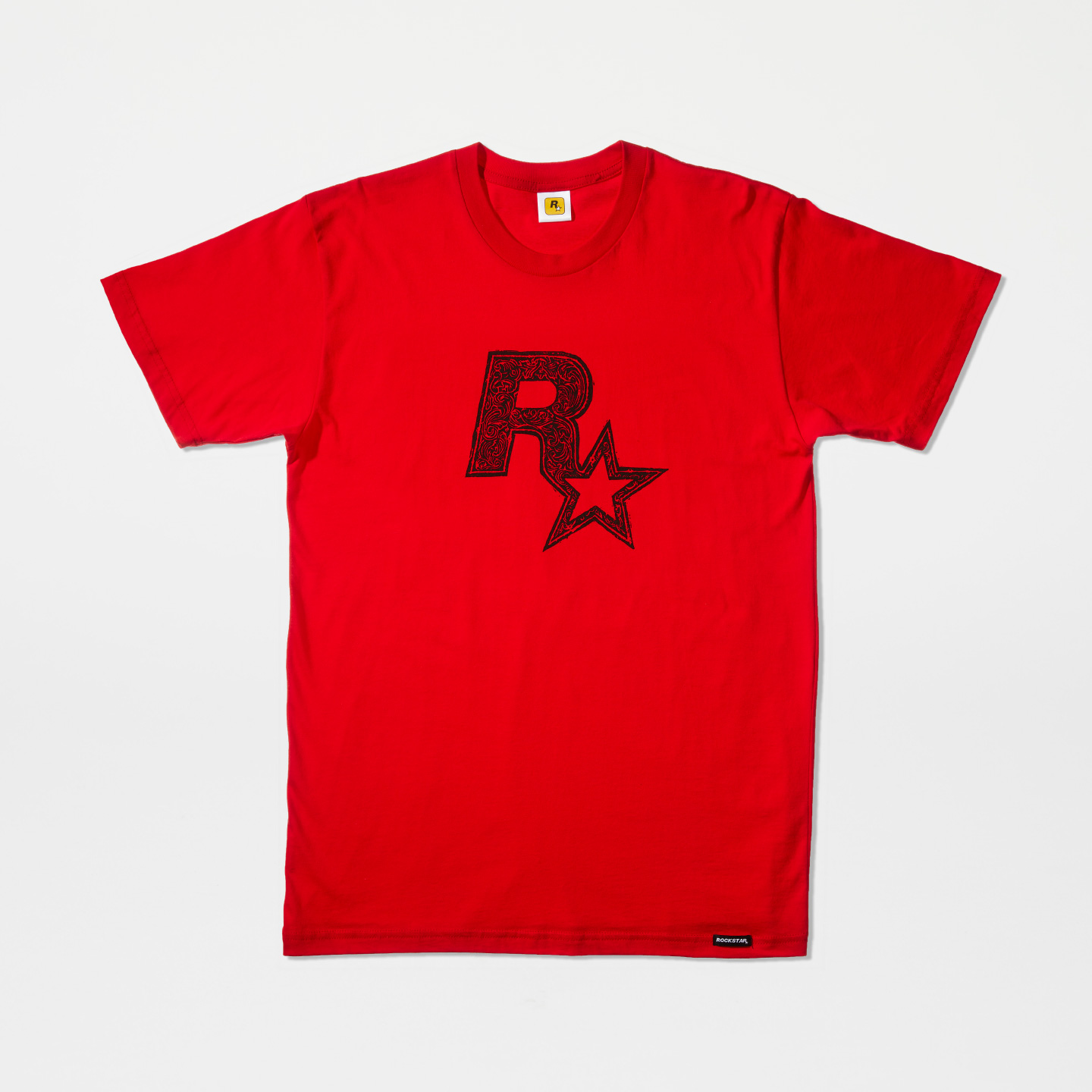 Black on Red Linocut Rockstar Games Logo Tee