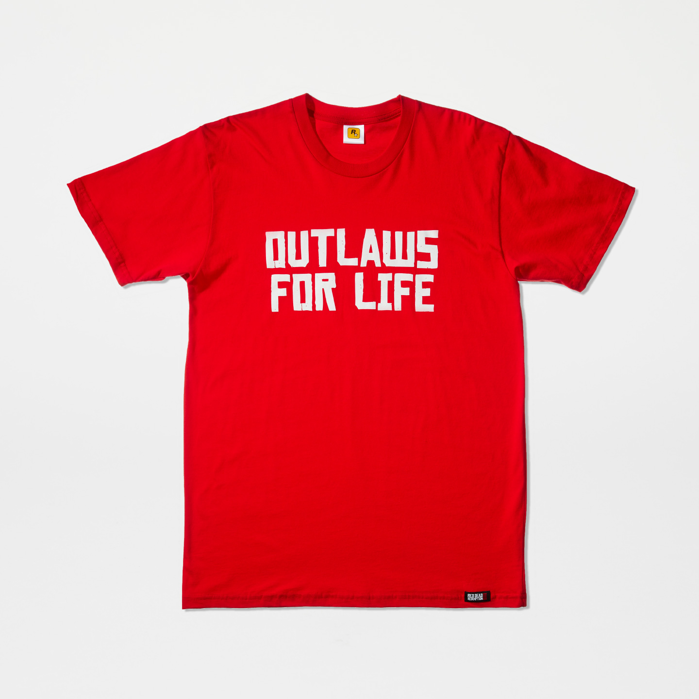 """OUTLAWS FOR LIFE""-T-Shirt (weiß auf rot)"