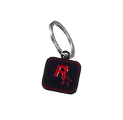 Red on Black Rockstar Games Logo Keychain