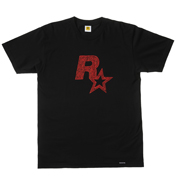 Red on Black Linocut Rockstar Games Logo Tee