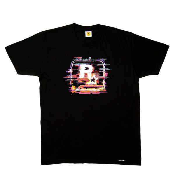 19fc1ecf Soft black 100% combed cotton tee • Four color print • Small Rockstar Games  logo below the neckline on the back • Rockstar Games pull tag at the waist