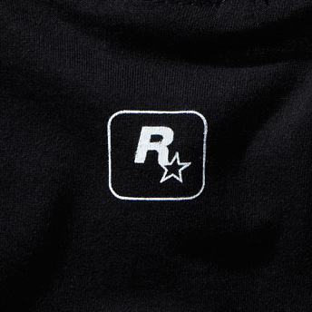 This Soft Black  Cotton Tee Features The Familiar V Emblem On Its Front And A Small Rockstar Logo Right Below The Neckline On The Back